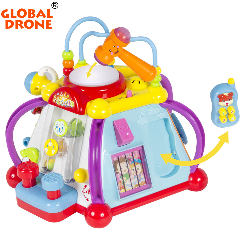 Global Drone Baby Enlightenment Toys Musical Activity Cube Play Center with Lights 15 Functions Skills Learning Educational Toy sassy seat doorway jumper 5 toys with musical play mat