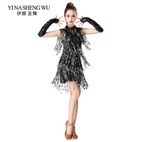 Latin Dance Clothes Women Sequin Fringed Latin Dance Stage Performance Competition Dress Salsa Dance Costume With Glove Necklace