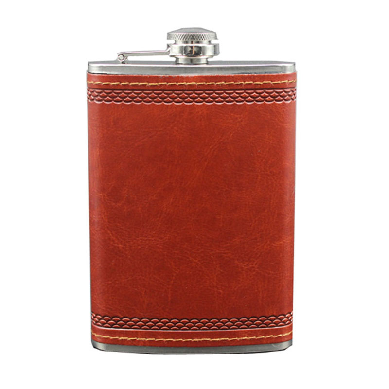 9 OZ Portable Stainless Steel Leather Hip Flask Russia Hip Flask Personalized Drink Cup Bottle Wine Whisky Mug Flasque Alcool