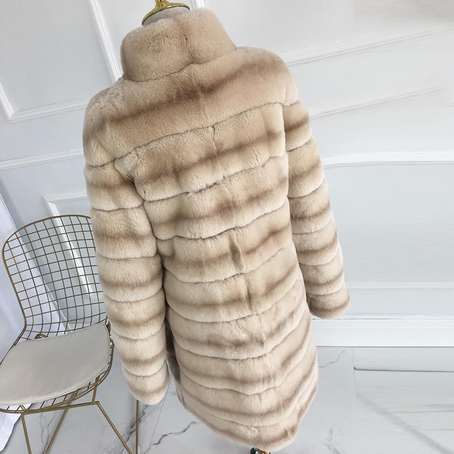 Kaki Veste Mandarin Col Et Manteaux D'hiver Fourrure Vraie gris De Nouveau 2018 Naturel Chaud Lapin Long Hiver Manteau Réel Épais Femmes Rex qWTXREFn