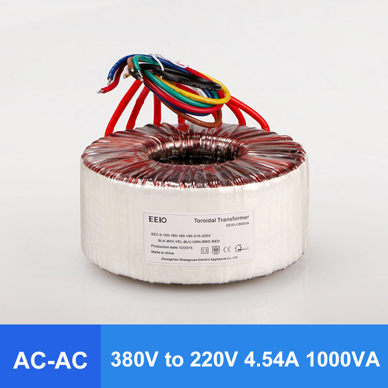 Comopez AC 380V to AC 220V 4.54A 1000VA Ring Transformer  Ring Power Transformer Full Copper Wire  For Power Supply AmplifierComopez AC 380V to AC 220V 4.54A 1000VA Ring Transformer  Ring Power Transformer Full Copper Wire  For Power Supply Amplifier