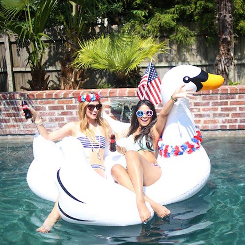 60 Дюймов 1.5 м Гигантский Белый Лебедь С Ручкой Надувные Водные Float бассейн Игрушки Для Детей И Взрослых Плавание Кольцо Плот ПВХ Воздуха матрас