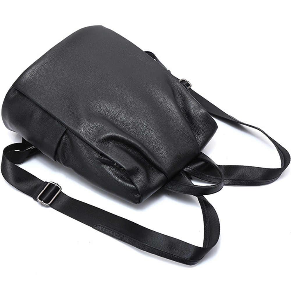 Zency новый черный женский рюкзак 100% натуральная кожа практичная дорожная сумка Большой Школьный рюкзак для девочек модный женский рюкзак для ноутбука