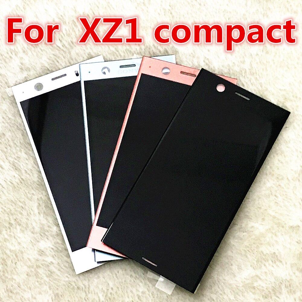 Noir Argent Bleu Rose Pour Sony Xperia XZ1 Compact g8441 g8442 LCD Écran Tactile Digitizer Assemblée Panneau de Verre Pièces