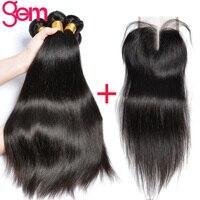 יופי פנינה חלק ברזילאי 3 חבילות שיער אדם עם אמצע סגירת תחרה שוויצרית חלק עם תינוק שיער אין לארוג שיער טבעי רמי
