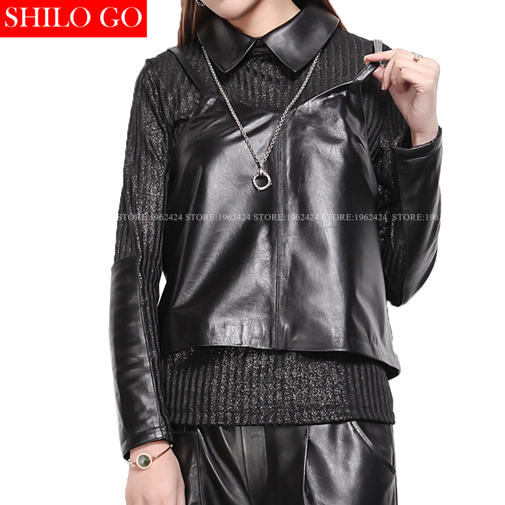 SHILO GO NEW Street Women Vintage Notched harness sexy Sheepskin Genuine Leather Stitching long sleeves Ladies Concise Blouse