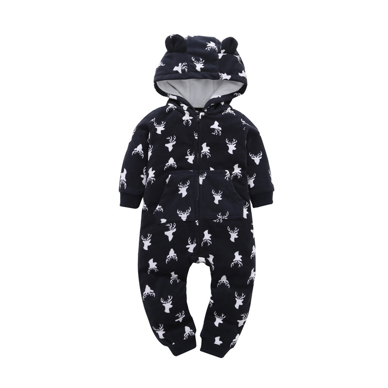 Baby Boy Girl Hooded   Rompers   Fleece costume Long Sleeve Zipper One-pieces Clothes for newborn COTTON infant jumpsuit Overalls