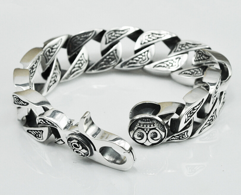 Thai silver original handmade silver jewelry 925 sterling silver domineering vintage Chain & Link bracelets 2018 mens jewelry double layer link chain men bracelets 925 sterling silver bracelets