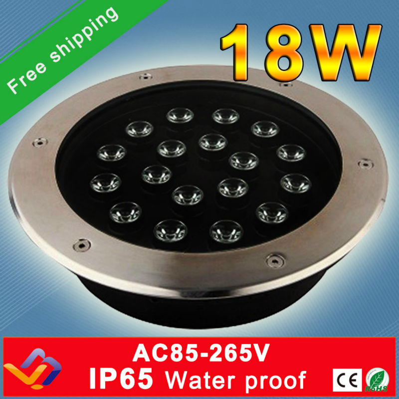 Free shipping 5pcs/lot 18*1W LED Stage Stairs Garden Outdoor Buried Floor Lamp Waterproof Underground Light RoHS free shipping 5pcs lot 18 1w led underground light ac85 265v ip65 ce