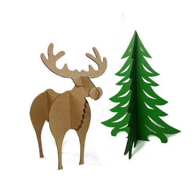 3d Puzzle Christmas Tree And Reindeer Paper Model DIY Kids Craft Xmas Deer  Ornament Art Creative