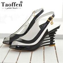 2d9b2007f71be Taoffen 2019 sandales à talons compensées hautes boucle bout ouvert  chaussures transparentes chaussures d été pour femmes chauss.