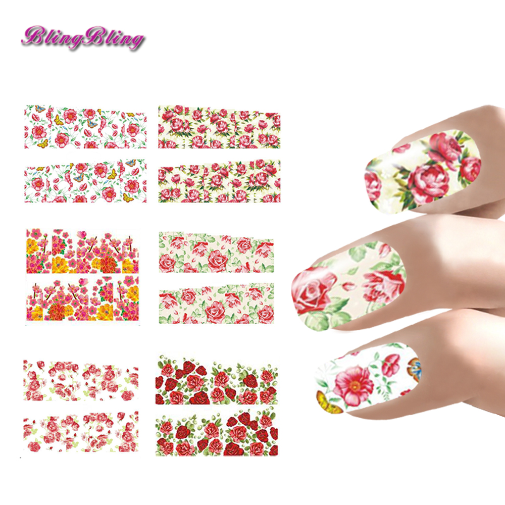 ⓪6sheets Flowers Nail Art Stickers Decals For Nails Rose Peony ...