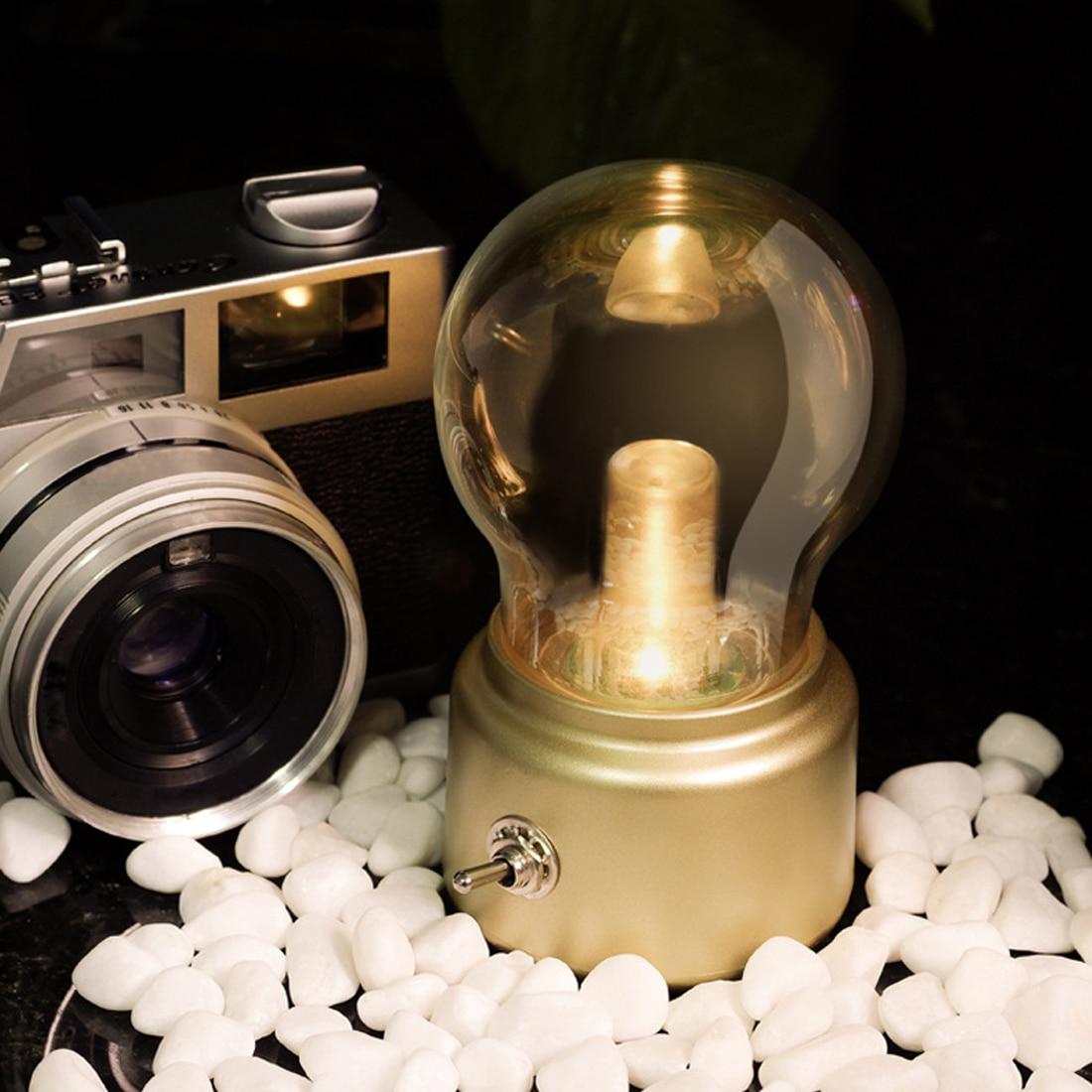 1pc Intage Bulb Night Light Retro USB Lamp Rechargeable Luminaria Nightlight Luces LED Energy-saving Book Lights Mini Bed Lamps