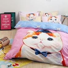 Kids bedding set cat print quilt cover bed sheet bedding pillowcases 100% cotton duvet cover set for four seasons for children