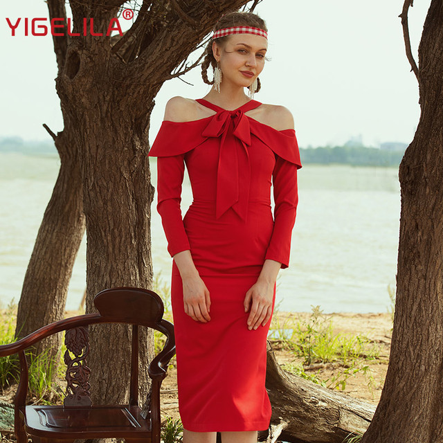 YIGELILA 2019 Fashion Women Bodycon Party Dress Autumn Solid Halter Off Shoulder Bow Empire Slim Mid Length Red Long Dress 63886