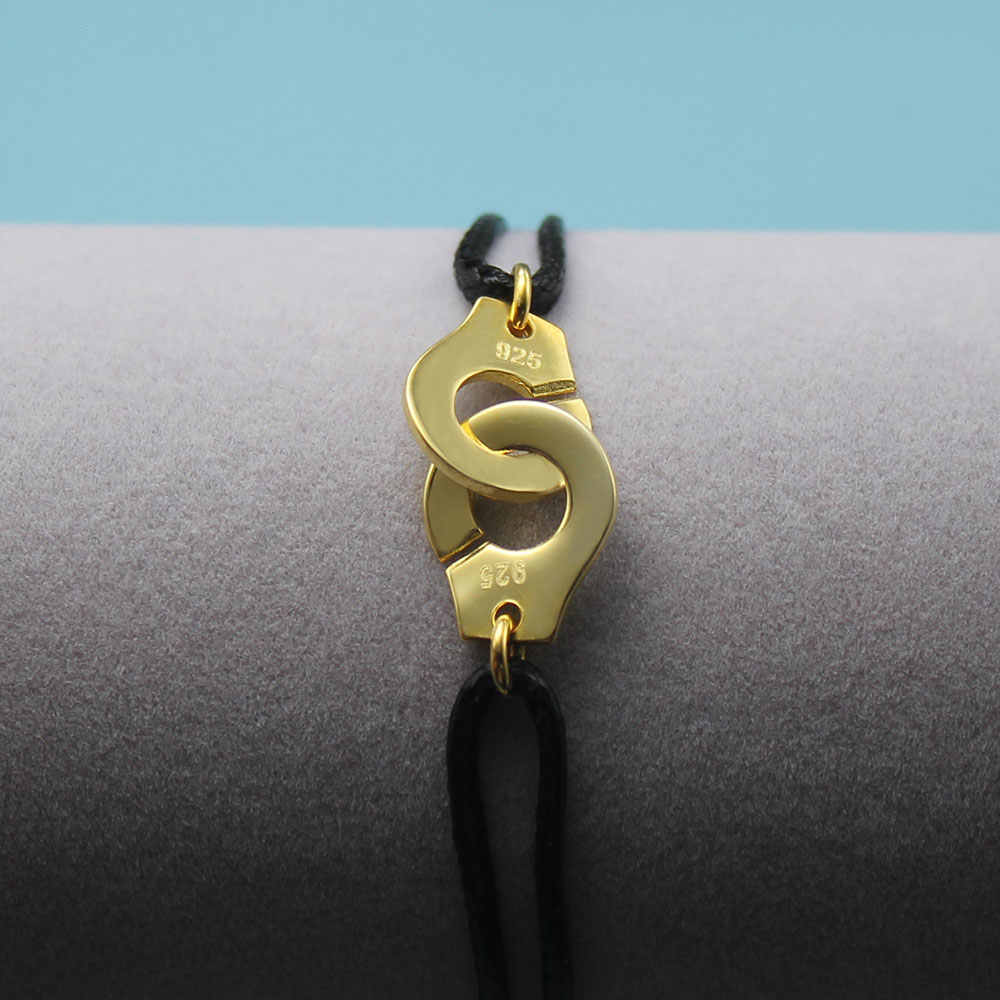 הפופולריות צרפת 925 צמיד אזיקים כסף סטרלינג לנשים עם שחור חבל 925 צמיד כסף Menottes רק 925 חותמת