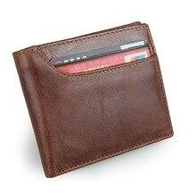 Новый корова кожаный бумажник Для мужчин модные двойные мужские короткие карты бумажник из натуральной кожи кошелек для Для мужчин держатель для карт