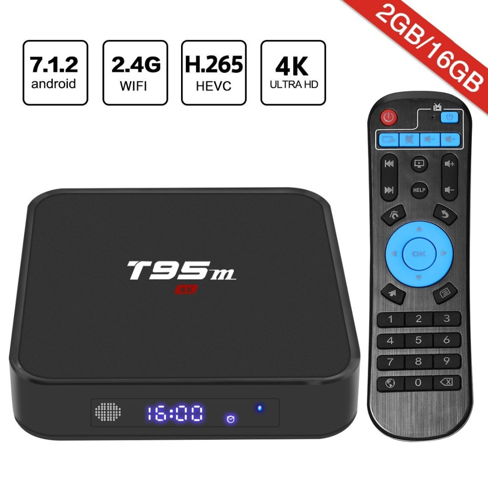 Leelbox Android 7.1 TV Box T95M With Amlogic S905X Quad Core 64 Bit WiFi Smart Internet TV Box 2GB RAM 16GB ROM 4K Full HD Box eu us plug cs918s andriod 4 4 smart tv box quad core 2gb ram 16gb rom built in bluetooth 3g wifi android tv box newest in 2017