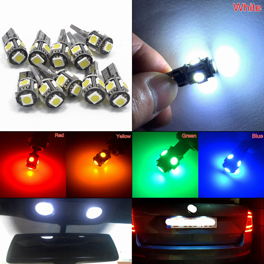 T10 5050 5SMD White Blue Car Led Canbus W5w 194 Error Free DC 12V Parking Bulb Clearance Wedge Dome Light Decoder Sign Trun Led promotion car leds light clearance lights t10 5 led light 5led car auto leds t10 194 w5w 5050 wedge light bulb lamp 5smd white