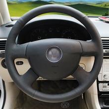 Hand genäht Schwarz Leder Lenkradabdeckung für Volkswagen VW Passat B6