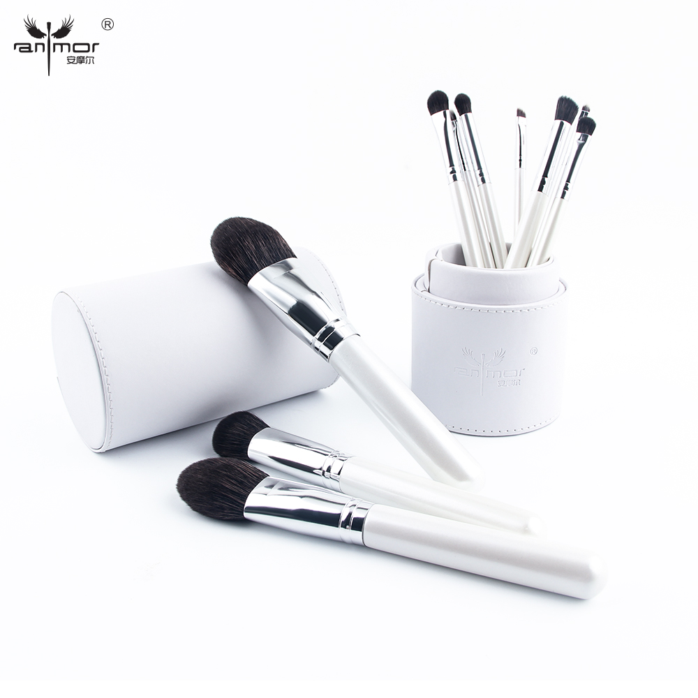 Anmor 10 pcs/set Professional Makeup Brushes High Quality Make Up Brushes Set with Brush Holder White Color CP001 anmor eyelash comb brush high quality eyebrow makeup brushes for daily or professional make up