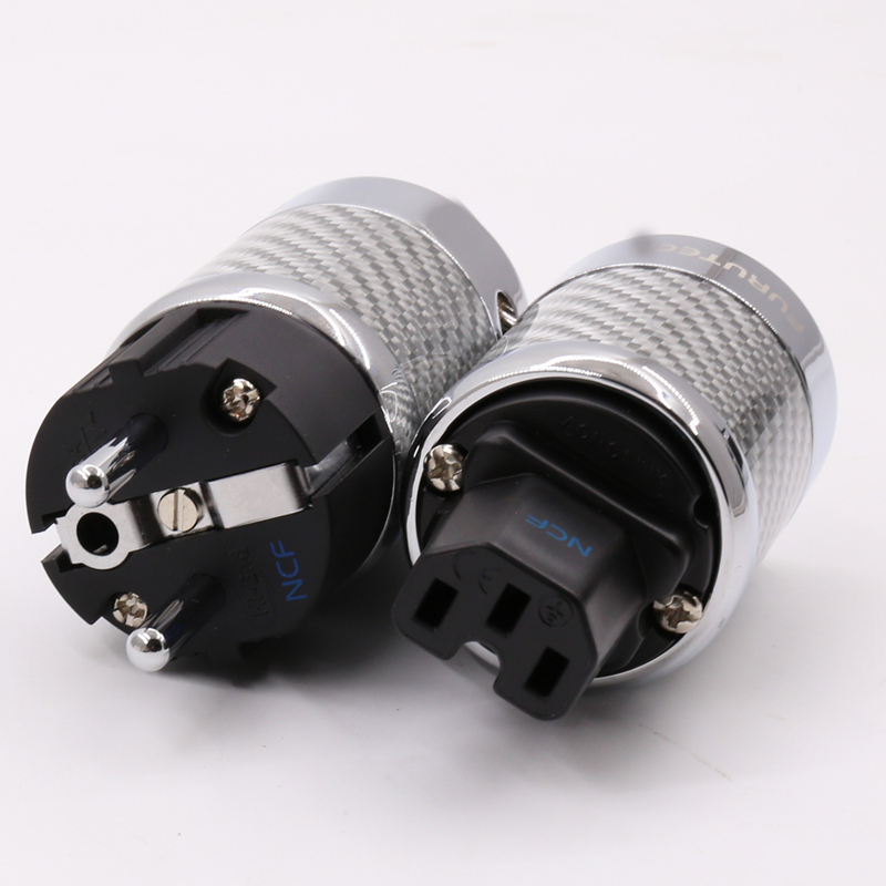 1pair  Hifi Audio EU Schuko  Rhodium Plated Carbon Fiber AC Power Plug  for Diy power cable  extension adapter carbon fiber rhodium plated us power plug connector iec audio plug hifi