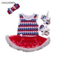 Amerika Yıldızlar Bebek Kız Giysileri Temmuz 4th Kıyafetler Yürümeye Başlayan Dantel Elbise Bandı + Beşik Ayakkabı Set Roupa De Bebe Bebek-giyim