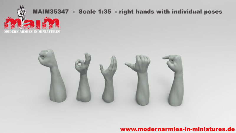 1:35 Resin Arm Right Hand 5 Kinds Of Gestures