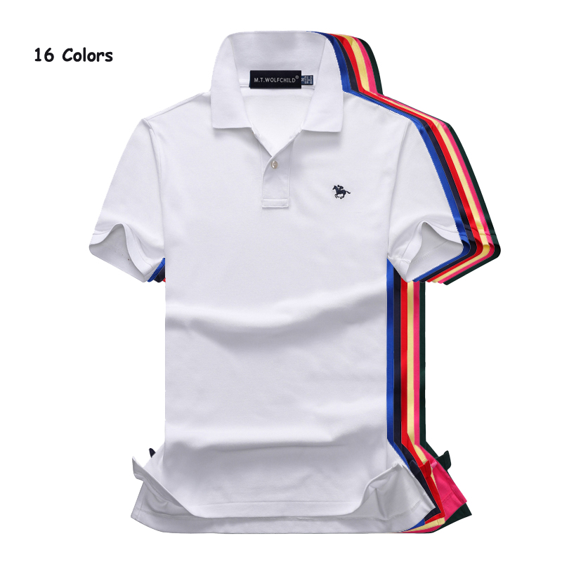 Free shipping 2018 Summer fashion small horse mens short sleeve polos shirts cotton casual solid color mens lapel polos shirts