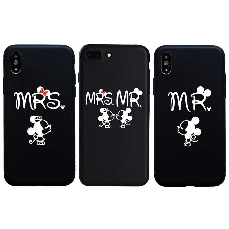 Cute Simple Mrs Minnie Mr Mickeys soft Case for iPhone 6S 6 7 8 Plus Cover Funda Coque For iphone 5s SE X XS Max XR Cases