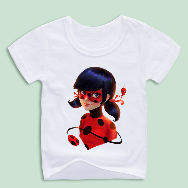 Kid s miraculous ladybug cartoon t shirt boy and girl