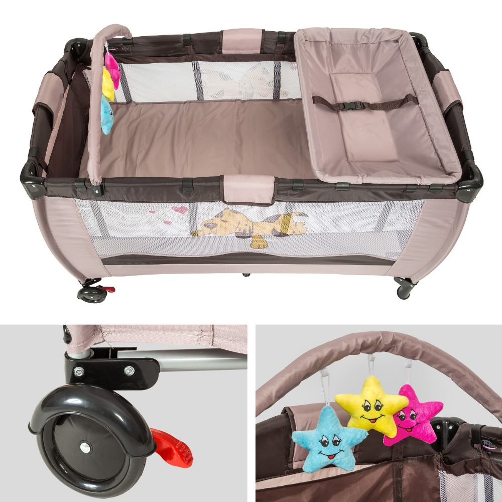 Baby Travel Bed Portable Folding BeigeBaby Play Bed Playard Pack Play Play Baby Baby Crib Bassinet International Ship HWC