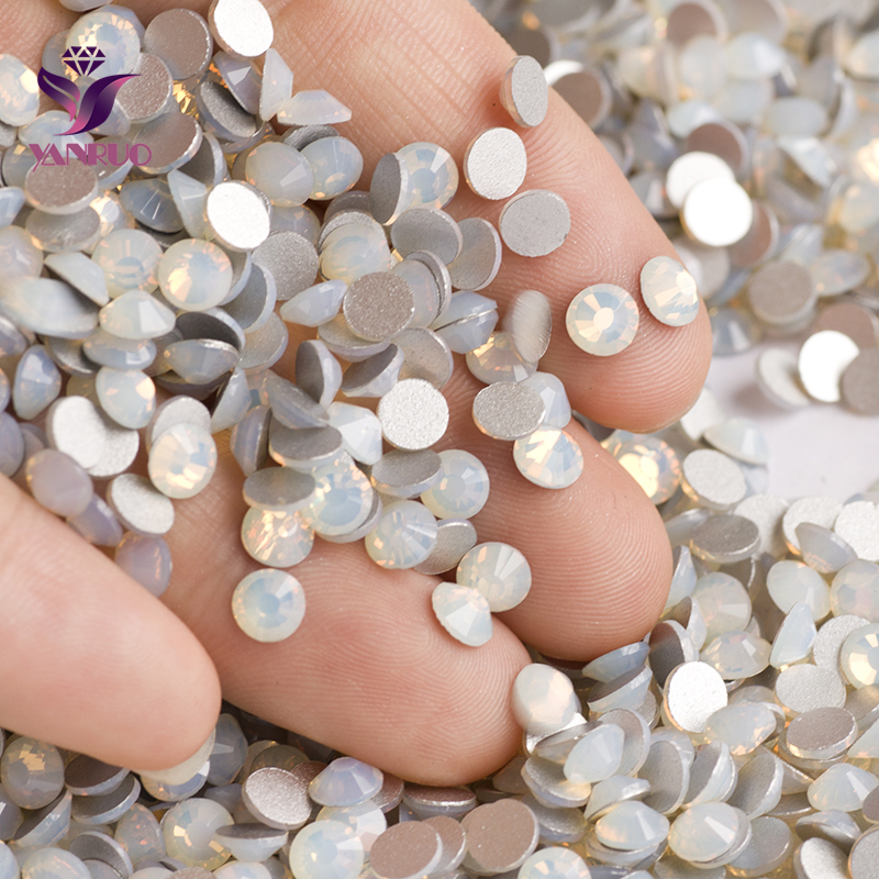 YANRUO White Opal Color Rhinestones Strass Non Hotfix Glue on Nails Crystal  Flat back Stones Rhinestones 93980d024d96