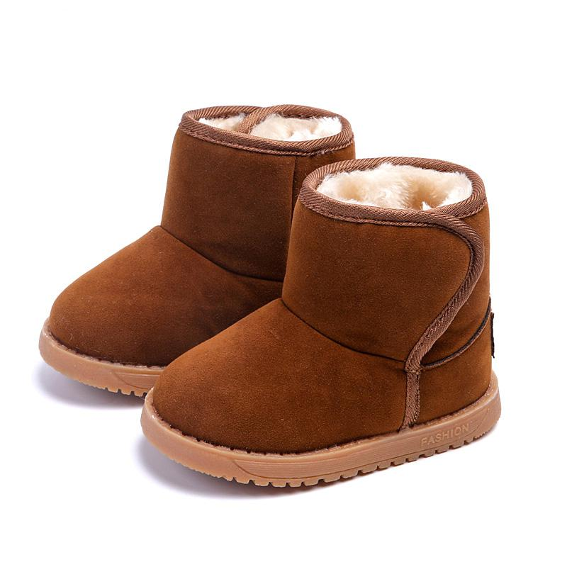 Winter Warm Boys Girls Snow Boots Shoes Fashion Flat With Plush Child Kids Snow Boots Shoes 13-15 CM Baby Boots Toddler Shoes