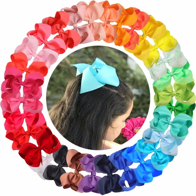 """30 Pcs 6 Inch Hair Bows for Girls Big Grosgrain Girls 6"""" Hair Bows Alligator Clips For Teens Kids Toddlers"""