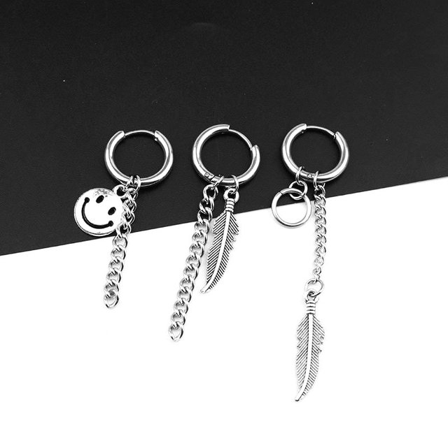 Tel Chain Compound Smiley Leaf Feather Design Earring Ear Clip Stud Earrings 2018 New Fashion Jewelry