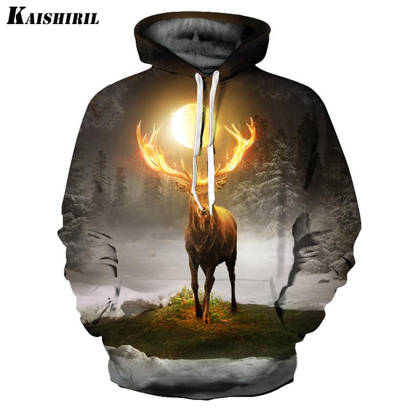 2018 Men 39 s 3D Hoodies Elk Printed Sweatshirt Men Casual Streetwear Harajuku Hoodie Women Couple Creative Hip Hop Pullovers in Hoodies amp Sweatshirts from Men 39 s Clothing