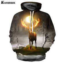 2017 Men's 3D Hoodies Elk Printed Sweatshirt Men Casual Streetwear Harajuku Hoodie Women Couple Creative Hip Hop Pullovers