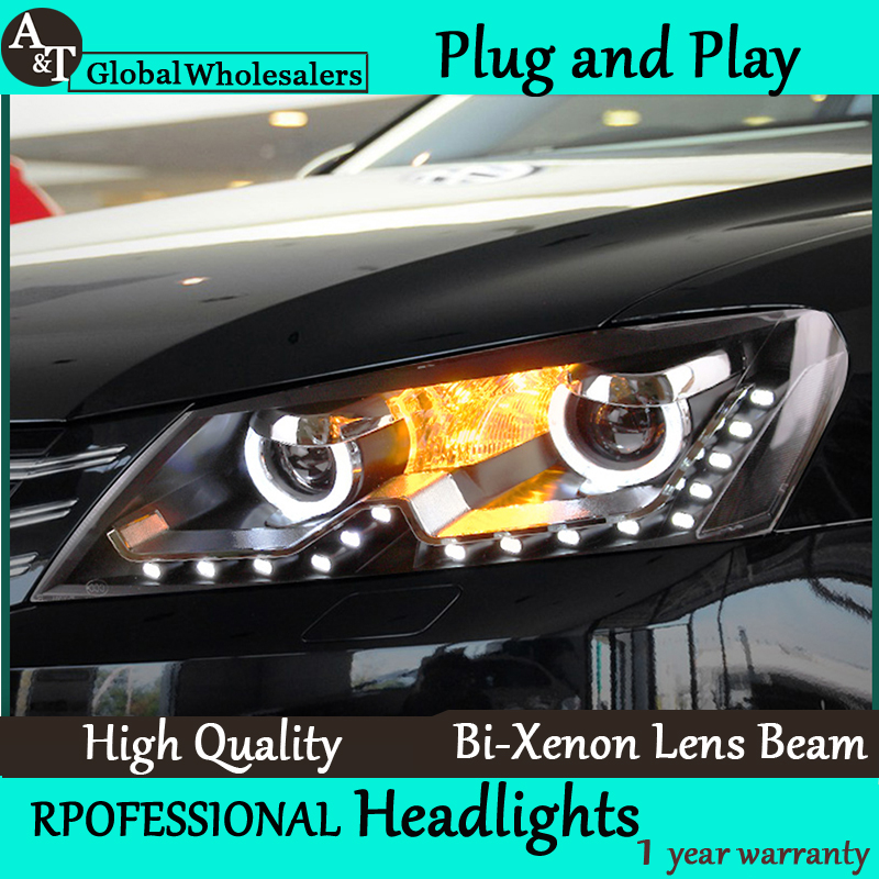 Free Shipping Car Styling for VW Passat B7 Headlights Volkswagen LED Headlight DRL Lens Double Beam H7 HID Xenon bi xenon lens