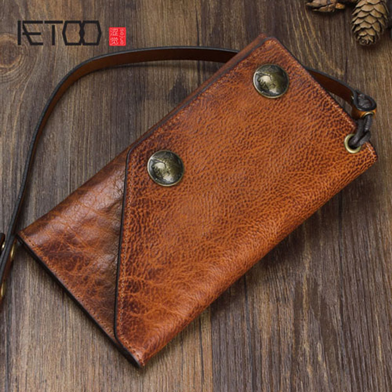 AETOO Pure Hand Retro Leather Long Wallet Multi-functional First Layer Of Leather Men And Women Clutch Bag Anti-theft Chain