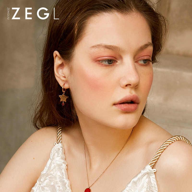 ZEGL stella a cinque punte orecchini femminile 2019 nuova ondata di disegno degli orecchini rosso orecchini dei monili dell'orecchio