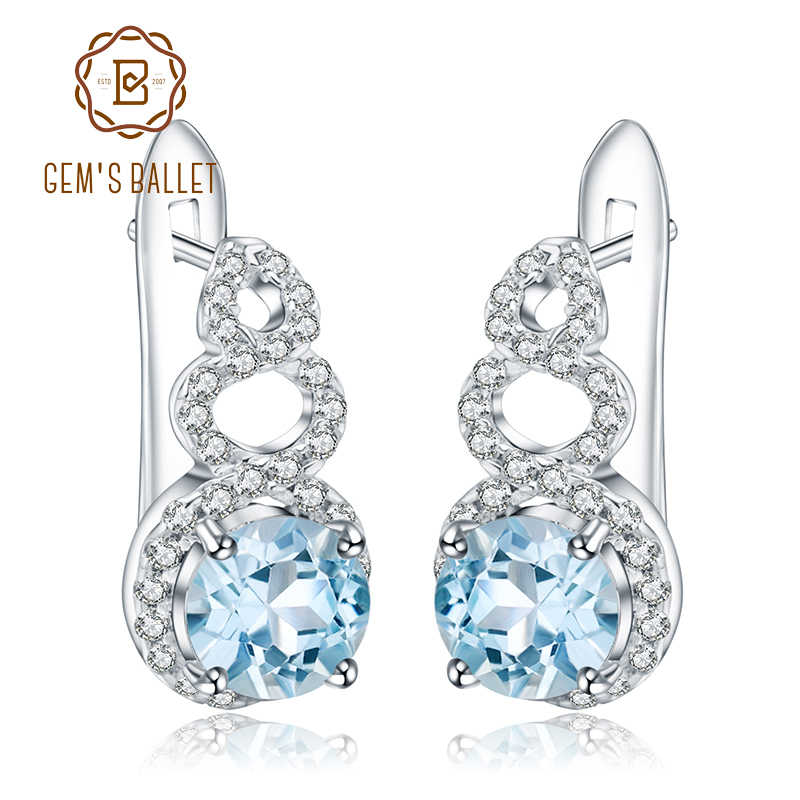 07c2f5834 Gem's Ballet 2.10Ct Round Natural Sky Blue Topaz Gemstone Clip Earrings 925  Sterling Silver for
