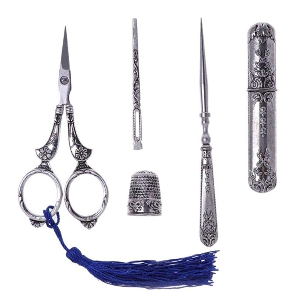цена на Sewing Scissors Set Vintage Embroidery Tool Alloy Awl Threader Thimble Needle Case Kit LB88