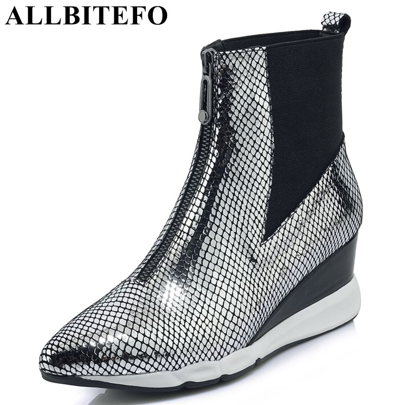 allbitefo brand genuine leather super high heel ankle women boots fashion sexy ladies girls martin boots motocycle boots shoes ALLBITEFO brand soft genuine leather sheepskin women boots wedges heel shoes girls ankle martin boots fashion motocycle boots