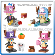 Mini Qute 4pcs/lot LOZ anime cartoon one piece chopper kawaii boys gift diamond plastic building block bricks educational toy