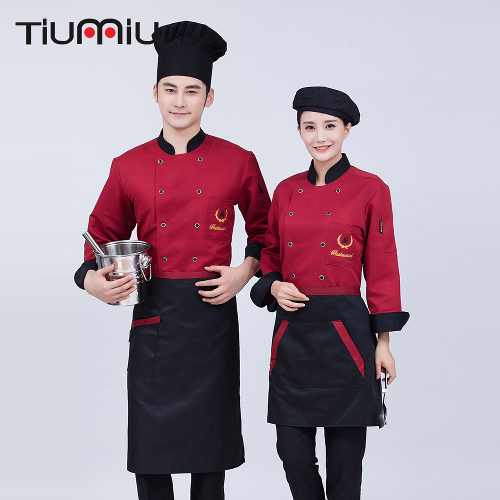 Unisex Spliced Color Chef Uniforms Work Wear Jackets Long Sleeve Men Chinese Restaurant Kitchen Uniforms Food Service Tops Coats