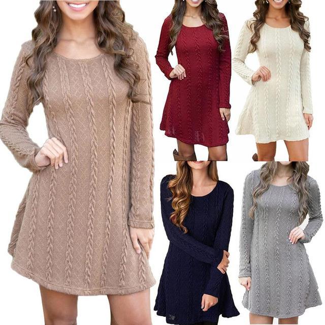 4XL 5XL Large Size Fashion Casual Long Sleeve Sweater Dress 2019 ...