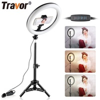 Travor 10 inch LED ring lamp Dimmable LED Light Desktop LED Lamp 3 Light Modes Temperature 3000K 5000K LED ring light for makeup