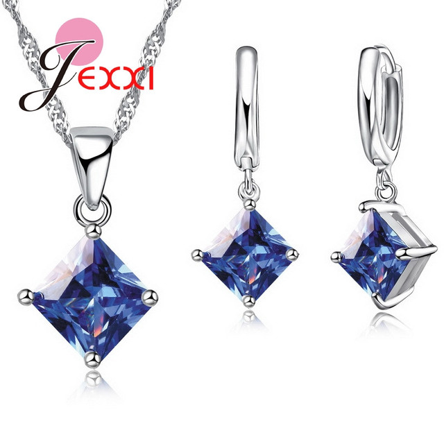 JEXXI Real 925 Sterling Silver Wedding Jewelry Sets For Women 5A Cubic Zirconia Rhinestone Pendant Necklace Hoop Earrings Sets