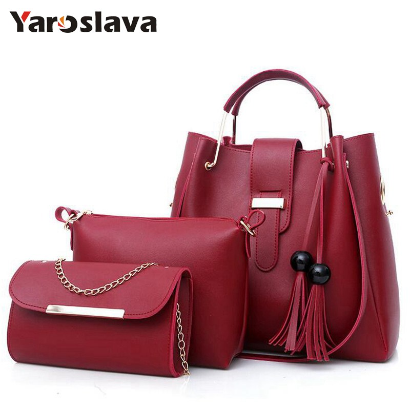 2018 Women 3Pcs/Set Handbags PU Leather Shoulder Bags Tassel Handle Designer Composite Messenger Bag Casual Tote Bag   LL408
